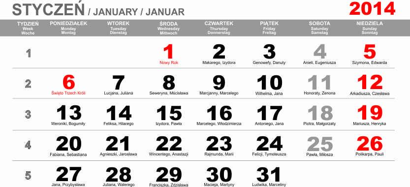 Kalendarium trójdzielne na 2014 rok